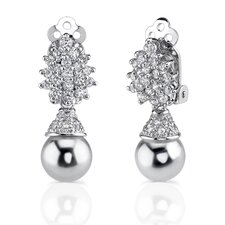 Gracious Elegance: Sterling Silver Art Deco Inspired Bridal Style Drop Earrings with Faux White Pearls and CZ