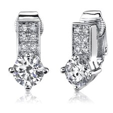 "0.5"" Sterling Silver Round Shape White Cubic Zirconia Clip On Earrings"