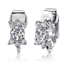 "0.38"" 3gms Sterling Silver Round Shape White Cubic Zirconia Clip On Earrings"