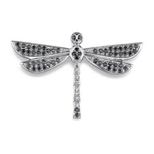Sparkling Fantasy: Sterling Silver Dragonfly Brooch with Black and White Cubic Zirconia