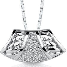 Bedazzling Style: Sterling Silver Enhancer Style Pendant Necklace with Cubic Zirconia