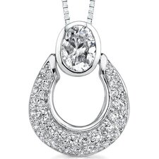 Dazzling Desire: Sterling Silver Designer Inspired Slider Style Basket Pendant Necklace with Cubic Zirconia
