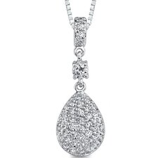 Exquisite Desire: Sterling Silver Dangle Style Teardrop Pendant Necklace with Cubic Zirconia