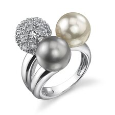 Sensually Radiant Sterling Silver Grey White Cultured Pearl and Disco Ball Cubic Zirconia Cocktail Ring