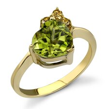 Charming and Chic 2.12 Heart Shape Peridot Diamond Ring 14 Karat Yellow Gold