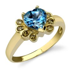 Vibrant Intricacy 1.66 Heart Shape Swiss Topaz Diamond Ring 14 Karat Yellow Gold
