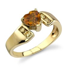 Vivacious and Radiant 0.87 Carat Heart Shape Citrine Diamond Ring 14 Karat Yellow Gold
