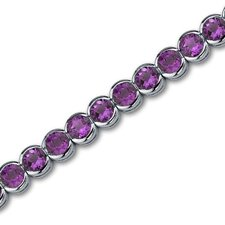 <strong>Oravo</strong> Must Have Awesome 16.00 Carats Round Cut Amethyst Gemstone Tennis Bracelet in Sterling Silver
