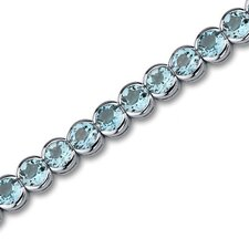 Must Have Elegant 19.00 Carats Round Cut Swiss Blue Topaz Gemstone Tennis Bracelet in Sterling Silver