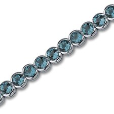 Must Have Firey 19.00 Carats Round Cut London Blue Topaz Gemstone Tennis Bracelet in Sterling Silver