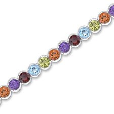Must Have Fabulous 17.75 Carats Round Cut Rainbow Color Multi-Gemstone Tennis Bracelet in Sterling Silver