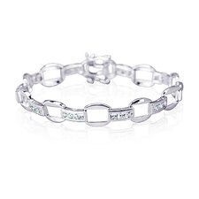 One of a Kind Design Princess Cut Gemstone Bracelet in Sterling Silver