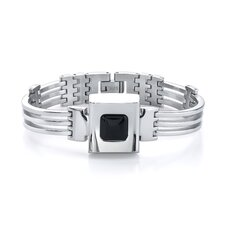 <strong>Oravo</strong> Ultramodern Elegance Stainless Steel Industrial-style Link Bracelet with Black Ceramic centerpiece for Men