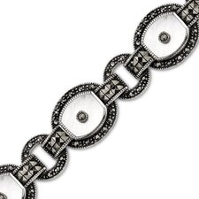 Spirit of Vintage Sterling Silver Marcasite and White Mother of Pearl Art Deco Style 71 2 inches Oval Link Bracelet