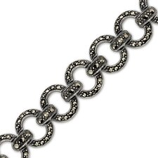 Simple Sophistication Sterling Silver Marcasite Antique Style 71 4 inches Oval Link Bracelet