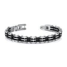 <strong>Oravo</strong> Sophisticated Mens Stainless Steel Bracelet with Black Carbon Fiber