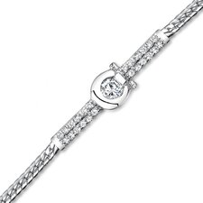 Unique Horseshoe Design Sterling Silver Half Bracelet with Cubic Zirconia