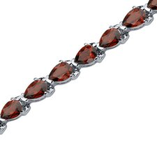 <strong>Oravo</strong> Magnificent Desire Pear Shaped Gemstone Bracelet in Sterling Silver