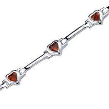Object of Desire Heart Shape Amethyst Gemstone Bracelet in Sterling Silver