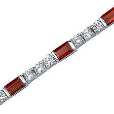 Scintillating Charm Baguette Cut Gemstone Bracelet in Sterling Silver