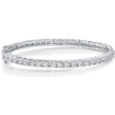 Irresistible and Trendy Sterling Silver Prong-Set Cubic Zirconia Hinged Bangle Bracelet