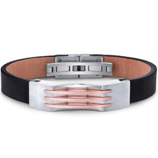 Mens Stainless Steel and Leather Bracelet with Triple Stripe Rose-Gold Accents