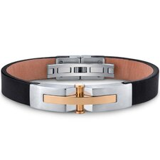 Mens Stainless Steel and Leather Bracelet with Gold Rivet Accents