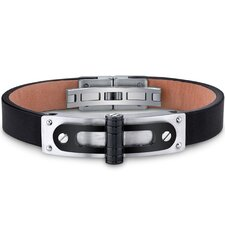 <strong>Oravo</strong> Mens Stainless Steel and Leather Bracelet with Black Hinge and Rivet Accents