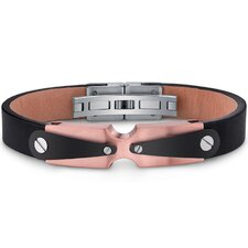 Mens Stainless Steel and Leather Bracelet with Industrial Black and Rose Gold Accents
