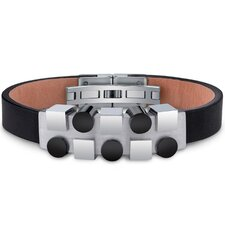 Mens Stainless Steel and Leather Bracelet with Black and Silver Tone Geometric Shapes