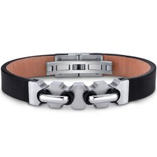 <strong>Oravo</strong> Mens Stainless Steel and Leather Bracelet with Industrial Handlebar and Black Accents