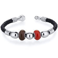 Red and Brown Roundel Bead woven Leather Bracelet
