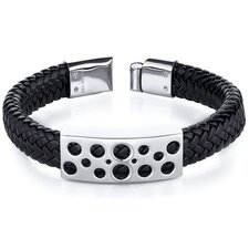 Mens Circle Motif Stainless Steel Black Woven Bracelet