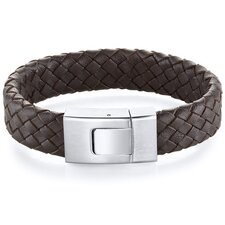 Mens Buckle style Brown Woven Leather and Steel Bracelet