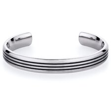 Triple Black Stripe Mens Titanium Cuff Bracelet