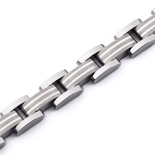 Art Deco Sterling Silver Inlay Titanium Mens Bracelet