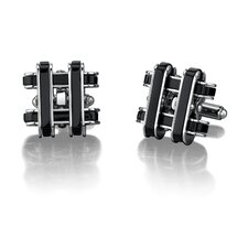 Stainless Steel Cufflinks for Men with Black Resin Inlay