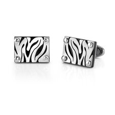 Stainless Steel Zebra Pattern Cufflinks for Men