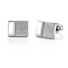 Stainless Steel Rectangular Geometrical Pattern Cufflinks for Men