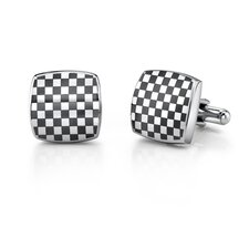 Stainless Steel Cushion Shape ChessBoard Design Cufflinks for Men