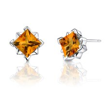 Princess Cut 2.00 Carats Gemstone Earrings in Sterling Silver