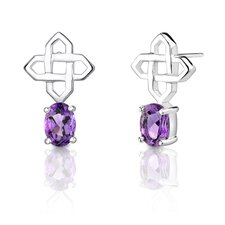 "0.5""x0.75"" Oval Shape 1.50 Carats Amethyst Earrings in Sterling Silver"