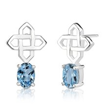 "0.5""x0.75"" 2.00 Carats Oval Shape Swiss Blue Topaz Earrings in Sterling Silver"