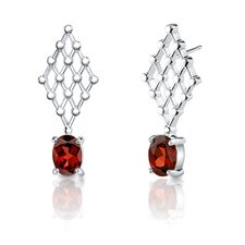 "0.38""x1"" 2.00 Carats Oval Cut Garnet Earrings in Sterling Silver"