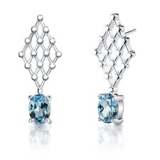 2.00 Carats Oval Shape Swiss Topaz Earrings in Sterling Silver