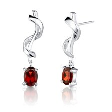"0.25""x1"" 2.00 Carats Oval Cut Garnet Earrings in Sterling Silver"