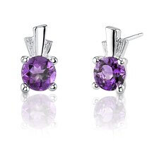 1.50 Carats Gemstone Round Shape Earrings in Sterling Silver