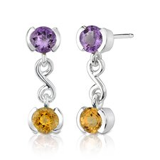 2.00 Carats Gemstone Round Cut Earrings in Sterling Silver
