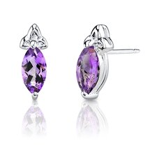 1.15 Grams 1.00 Carats Marquise Shape Earrings in Sterling Silver
