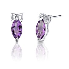 1.10 Grams 1.00 Carats Marquise Shape Earrings in Sterling Silver